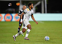 LAKE BUENA VISTA, FL - AUGUST 01: Jeremy Ebobisse #17 of the Portland Timbers looks for options with the ball during a game between Portland Timbers and New York City FC at ESPN Wide World of Sports on August 01, 2020 in Lake Buena Vista, Florida.