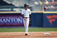 Andrew Velazquez (1) of the Scranton/Wilkes-Barre RailRiders takes his lead off of second base against the Rochester Red Wings at PNC Field on July 25, 2021 in Moosic, Pennsylvania. (Brian Westerholt/Four Seam Images)