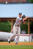 Trenton Thunder third baseman Dan Fiorito (27) during a game against the Binghamton Mets on May 29, 2016 at NYSEG Stadium in Binghamton, New York.  Trenton defeated Binghamton 2-0.  (Mike Janes/Four Seam Images)
