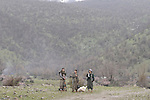 21/03/15 -- Qandil, Iraq -- Three girls near the celebration area in Qandel take care of the security.