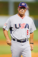 USA Manager Tim Jamieson #9 (Missouri) walks back to the dugout after arguing a call with an umpire during the game against the Gastonia Grizzlies at Sims Legion Park on June 30, 2011 in Gastonia, North Carolina.  Team USA defeated the Grizzlies 12-5.  Brian Westerholt / Four Seam Images