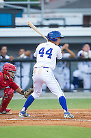 Marten Gasparini (44) of the Burlington Royals at bat against the Johnson City Cardinals at Burlington Athletic Park on July 14, 2014 in Burlington, North Carolina.  The Cardinals defeated the Royals 9-4.  (Brian Westerholt/Four Seam Images)