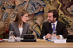 Princess Letizia of Spain attends a meeting with member of the Prince of Girona Foundation at Zarzuela Palace in Madrid, Spain. December 11, 2013. (ALTERPHOTOS/Victor Blanco)