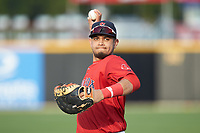 Salem Red Sox first baseman Pedro Castellanos (28) warms up in the outfield prior to the game against the Fayetteville Woodpeckers at Segra Stadium on May 15, 2019 in Fayetteville, North Carolina. The Woodpeckers defeated the Red Sox 6-2. (Brian Westerholt/Four Seam Images)