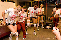 Omaha, NE - DECEMBER 20:  (L-R) Defensive specialist Katherine Knox #6, libero Gabi Ailes #9, middle blocker Foluke Akinradewo #16, outside hitter Cynthia Barboza #1, outside hitter Erin Waller #12, and outside hitter/setter Cassidy Lichtman #8 of the Stanford Cardinal in the team locker room before Stanford's championship match against the Penn State Nittany Lions in the 2008 NCAA Division I Women's Volleyball Final Four on December 20, 2008 at the Qwest Center in Omaha, Nebraska. Penn State defeated Stanford 20-25, 24-26, 23-25.