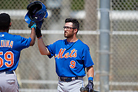 New York Mets Anthony Dimino (9) congratulates Jose Miguel Medina (59) after hitting a home run during a minor league Spring Training game against the Miami Marlins on March 26, 2017 at the Roger Dean Stadium Complex in Jupiter, Florida.  (Mike Janes/Four Seam Images)