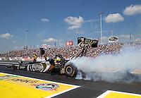 Jun. 2, 2013; Englishtown, NJ, USA: NHRA top fuel dragster driver Shawn Langdon during the Summer Nationals at Raceway Park. Mandatory Credit: Mark J. Rebilas-