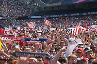 CHICAGO, Illinois - Thursday July 1, 2014: Fans gather at Grant Park to watch the World Cup match in the Knockout Stage Round of 16 between US Men's National team and Belgium.