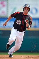Rochester Red Wings catcher Eric Fryer (22) running the bases during a game against the Norfolk Tides on May 3, 2015 at Frontier Field in Rochester, New York.  Rochester defeated Norfolk 7-3.  (Mike Janes/Four Seam Images)