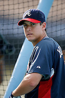 Kelly Johnson of the Atlanta Braves during batting practice before a game from the 2007 season at Dodger Stadium in Los Angeles, California. (Larry Goren/Four Seam Images)