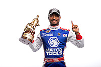 Dec. 3, 2013; Brownsburg, IN, USA; NHRA top fuel dragster driver Antron Brown poses for a portrait at Don Schumacher Racing.