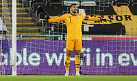 SWANSEA, WALES - NOVEMBER 12: Zack Steffen #1 of the United States barks out directions to his team mates during a game between Wales and USMNT at Liberty Stadium on November 12, 2020 in Swansea, Wales.