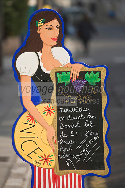 Europe/France/06/Alpes-Maritimes/Nice: Enseigne d'un Caviste du Vieux-Nice