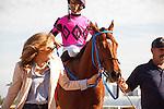 January 16, 2016: Amelia's Wild Ride with Jose Lezcano up after winning the Sunshine Millions Turf Sprint Stakes at Gulfstream Park, Hallandale Beach (FL). Arron Haggart/ESW/CSM