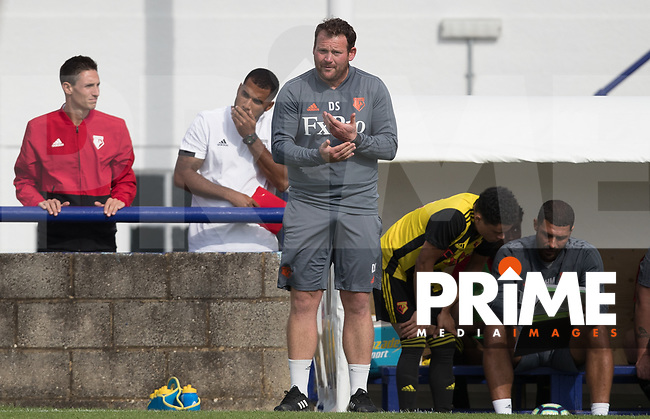 Watford senior yth manager Darren Sarll during the Professonal Development League match between Watford U23 and Sheffield United U23 at The Maurice Rebak Stadium, Summers Lane, England on 17 August 2018. Photo by Andy Rowland.