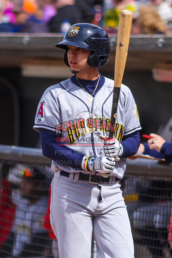 Burlington Bees shortstop Livan Soto (7) waits on deck during a Midwest League game against the Wisconsin Timber Rattlers on April 28, 2019 at Fox Cities Stadium in Appleton, Wisconsin. Wisconsin defeated Burlington 5-4. (Brad Krause/Four Seam Images)