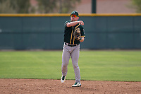 Oakland Athletics second baseman Trace Loehr (3) warms up between innings of a Minor League Spring Training game against the Chicago Cubs at Sloan Park on March 13, 2018 in Mesa, Arizona. (Zachary Lucy/Four Seam Images)