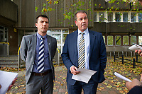Pictured: Detective Super Inspector Anthony Griffiths (right) of Dyfed Powys Police gives a statement on behalf of Hollie Kerrell's family outside Merthyr Tydfil Crown Court. Friday 02 November 2018<br /> Re: Christopher Llewellyn Kerrell, 35, has been jailed for 25 years at Merthyr Crown Court after admitting murdering his wife Hollie Kerrell.<br /> The body of the 28 year old mother of three was found in April 2018, four days after going missing from her farm house home near Knighton, mid Wales.<br /> Kerrell, from Whitton near Knighton pleaded guilty at Merthyr Crown Court.<br /> The body of Ms Kerrell, also of Knighton, was discovered at a farm on Thursday.