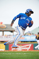 Toronto Blue Jays center fielder Roemon Fields (67) running the bases during a Spring Training game against the Pittsburgh Pirates on March 3, 2016 at McKechnie Field in Bradenton, Florida.  Toronto defeated Pittsburgh 10-8.  (Mike Janes/Four Seam Images)