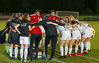 OHL players in a huddle before a female soccer game between FC Femina White Star Woluwe and Oud Heverlee Leuven on the fourth matchday in the 2021 - 2022 season of Belgian Scooore Womens Super League , Friday 10 th of September 2021  in Woluwe , Belgium . PHOTO SPORTPIX | SEVIL OKTEM