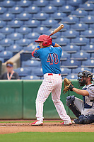 Clearwater Threshers Jose Tortolero (48) bats during a game against the Fort Myers Mighty Mussels on July 29, 2021 at BayCare Ballpark in Clearwater, Florida.  (Mike Janes/Four Seam Images)