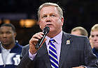 Sept. 20, 2013; Head Football Coach Brian Kelly speaks at the Pep Rally before the Michigan State game.<br /> <br /> Photo by Matt Cashore/University of Notre Dame