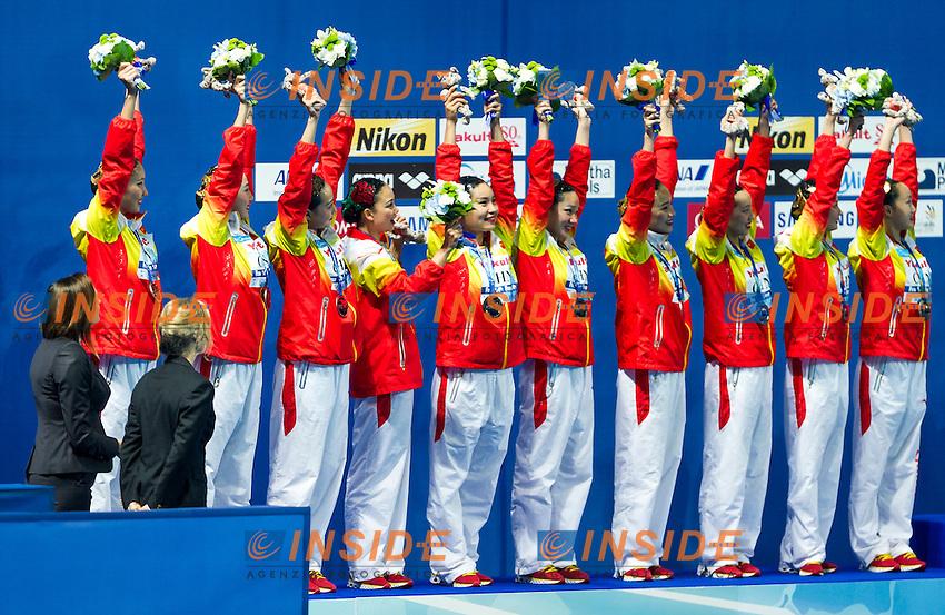 Podium<br /> Silver Medal<br /> CHN - People's Republic of China<br /> GU Xiao GUO Li<br /> LI Xiaolu LIANG Xinping<br /> SUN Wenyan SUN Yijing<br /> TANG Mengni XIAO Yanning<br /> YIN Chengxin ZENG Zhen<br /> Day9 01/08/2015<br /> XVI FINA World Championships Aquatics<br /> Synchro<br /> Kazan Tatarstan RUS July 24 - Aug. 9 2015 <br /> Photo Pasquale Mesiano/Deepbluemedia/Insidefoto