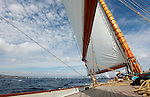 "Onboard the schooner Elena during ""Les voiles de saint Tropez"", France."