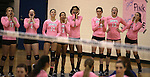 The Marymount sidelines cheer during a college volleyball match against Shenandoah at Marymount University in Arlington, Vir., on Tuesday, Oct. 8, 2013.<br /> Photo by Cathleen Allison