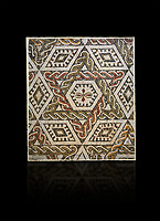 Pictures of a geometric Roman mosaics with a hexagon at its centre in the middle of which is a cruciform of flowers, from the ancient Roman city of Thysdrus, house in the M'Barek R'Haiem area. Begining of 3rd century AD. El Djem Archaeological Museum, El Djem, Tunisia. Against a black background