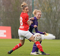 Charlotte Cranshoff (18 Standard) and Charlotte Tison (20 Anderlecht) in action during a female soccer game between Standard Femina de Liege and RSC Anderlecht on the 9th matchday of the 2020 - 2021 season of Belgian Scooore Womens Super League , saturday 12 th of December 2020  in Angleur , Belgium . PHOTO SPORTPIX.BE   SPP   SEVIL OKTEM