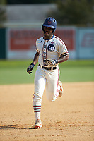 Kier Meredith (3) (Clemson) of the High Point-Thomasville HiToms rounds the bases after hitting a home run against the Statesville Owls at Finch Field on July 19, 2020 in Thomasville, NC. The HiToms defeated the Owls 21-0. (Brian Westerholt/Four Seam Images)