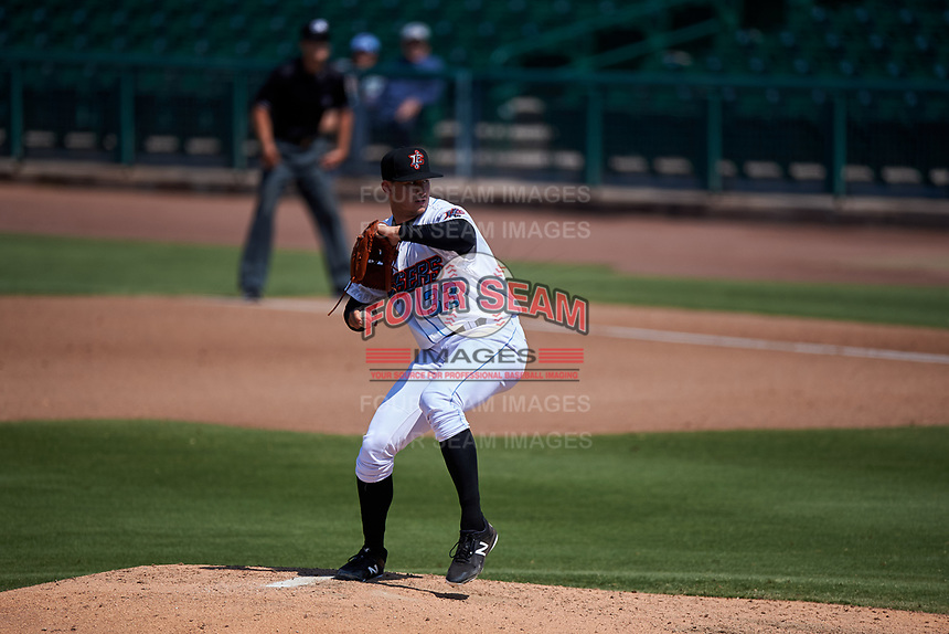 Inland Empire 66ers starting pitcher Joe Gatto (33) delivers a pitch during a California League game against the Lancaster JetHawks at San Manuel Stadium on May 20, 2018 in San Bernardino, California. Inland Empire defeated Lancaster 12-2. (Zachary Lucy/Four Seam Images)