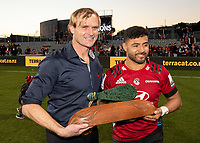 Crusaders coach Scott Robertson with Richie Mo'unga after winning the 2020 Super Rugby match between the Crusaders and Highlanders at Orangetheory Stadium in Christchurch, New Zealand on Saturday, 9 August 2020. Photo: Joe Johnson / lintottphoto.co.nz
