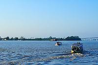 Typical passenger boats on Suriname River Paramaribo