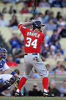 Bryce Harper #34 of the Washington Nationals during his first at bat while making his MLB debut against the Los Angeles Dodgers at Dodger Stadium on April 28, 2012 in Los Angeles,California. Los Angeles defeated Washington 4-3.(Larry Goren/Four Seam Images)