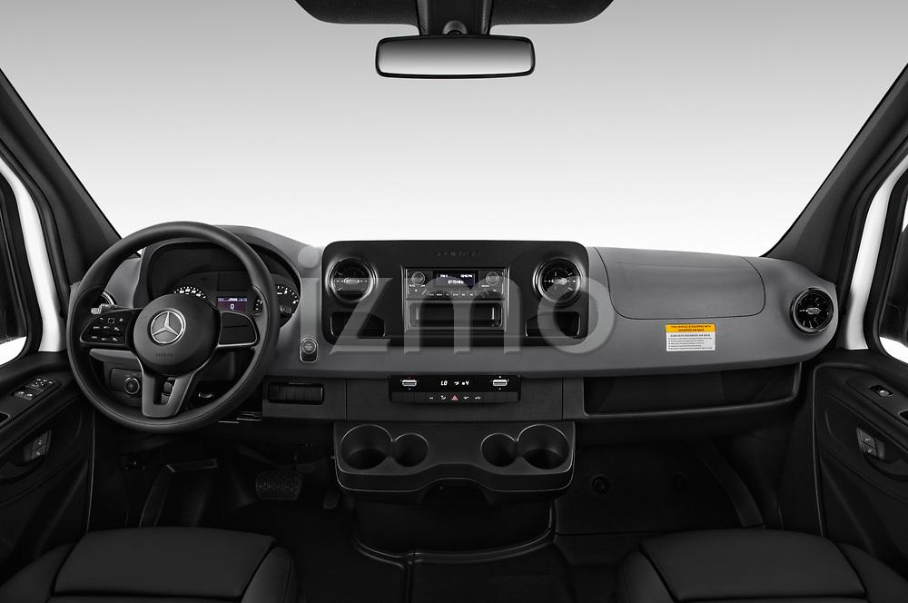 Stock photo of straight dashboard view of a 2019 Mercedes Benz Sprinter-Cargo-Van Base 4 Door Cargo Van