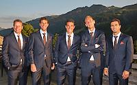 Austria, Kitzbuhel, Juli 15, 2015, Tennis, Davis Cup, Dutch team ready to go to the official dinner, Ltr: Captain Jan Siemerink, Robin Haase, Jesse Huta Galung, Thiemo de Bakker and Jean-Julien Rojer.<br /> Photo: Tennisimages/Henk Koster