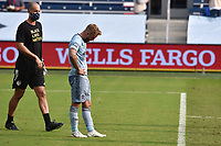 KANSAS CITY, KS - SEPTEMBER 19: Johnny Russell #7 of Sporting Kansas City bows his head at the end of the second half during a game between FC Dallas and Sporting Kansas City at Children's Mercy Park on September 19, 2020 in Kansas City, Kansas.