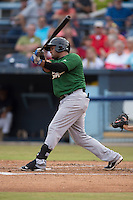 Savannah Sand Gnats third baseman Nelfi Zapata #28 swings at a pitch during a game against the  Asheville Tourists at McCormick Field July 17, 2014 in Asheville, North Carolina. The Tourists defeated the Sand Gnats 8-7. (Tony Farlow/Four Seam Images)