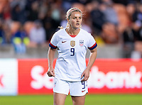 HOUSTON, TX - JANUARY 28: Lindsey Horan #9 of the United States looks for the ball during a game between Haiti and USWNT at BBVA Stadium on January 28, 2020 in Houston, Texas.