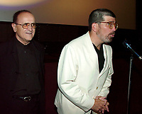 Montreal,August 27, 2000<br /> <br /> Montrea's  World Film Festival founder and President ; Serge Losique (left) smiles while American film maker and play writer David Mamet (right) presents his latest film at the Montreal World Film Festival (Montreal, Canada) on August 27, 2000<br /> <br /> Photo by Pierre Roussel / Images Distribution