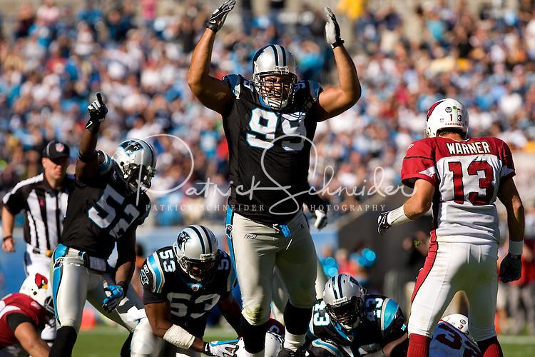 Carolina Panthers defensive tackle Maake Kemoeatu (99) celebrates a tackle against the Arizona Cardinals during an NFL football game at Bank of America Stadium in Charlotte, NC.