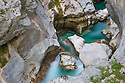 Soča river flowing through a narrow limestone gorge. Triglav National Park, Julian Alps, Slovenia, July.