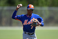 New York Mets Milton Ramos (7) during practice before a minor league spring training game against the Miami Marlins on March 30, 2015 at the Roger Dean Complex in Jupiter, Florida.  (Mike Janes/Four Seam Images)