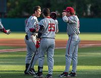 STANFORD, CA - JUNE 7: Tim Tawa, Kody Huff, Grant Burton during a game between UC Irvine and Stanford Baseball at Sunken Diamond on June 7, 2021 in Stanford, California.