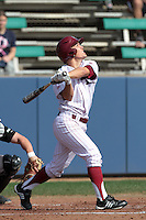 Zac Fujimoto #5 of the Loyola Marymount Lions bats against the Cal Poly Mustangs at Page Stadium on February 25, 2012 in Los Angeles,California. Cal Poly defeated LMU 12-5.(Larry Goren/Four Seam Images)
