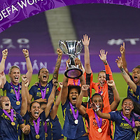30th August 2020, San Sebastien, Spain;  Lyon celebrate with trophy after winning the UEFA Womens Champions League football match Final between VfL Wolfsburg and Olympique Lyonnais 3-1 UEFA Womens Champions League football match Final between VfL Wolfsburg and Olympique Lyonnais.