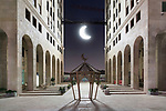 """Apr 2018. The """"Q center"""" decorated with the traditional symbols of Ramadan: The lantern and the moon."""