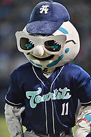 Asheville Tourists mascot Mr. Moon during a game against the Columbia Fireflies at McCormick Field on April 12, 2018 in Asheville, North Carolina. The Fireflies defeated the Tourists 7-5. (Tony Farlow/Four Seam Images)